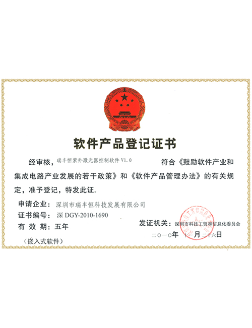 Software product registration certificate