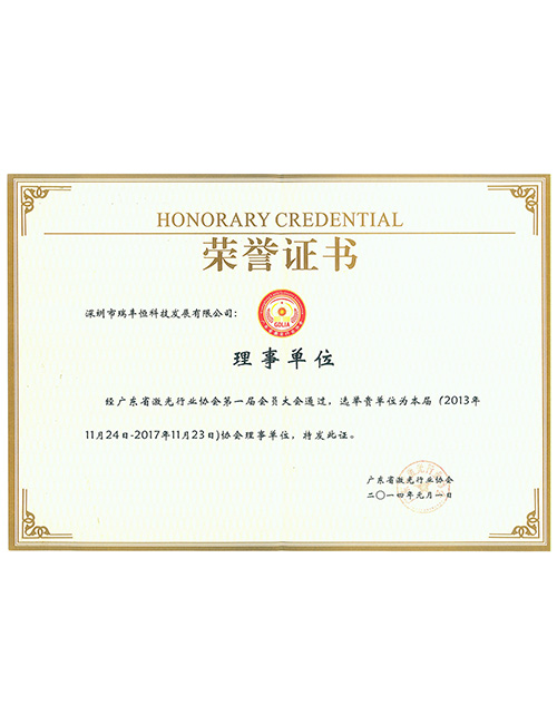 Guangdong Provincial Laser Industry Association Director Unit Certificate